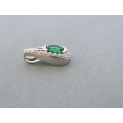 Strieborný dámsky prívesok zelený kameň VIS145 925/1000 1.45g