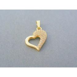 Zlatý prívesok srdiečko žlté zlato jemne kamienky VI107Z 14 karátov 585/1000 1.07g