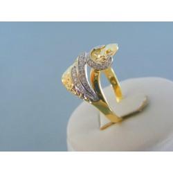 ae832cae3 Zlatý dámsky prsteň žlté biele zlato kamienky VP64389V ...