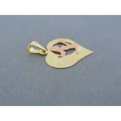 Zlatý prívesok srdiečko znamenie panna žlté červené zlato VI109V 14 karátov 585/1000 1.09g
