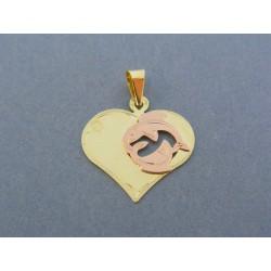 Zlatý prívesok srdiečko znamenie ryby žlté červené zlato VI129V 14 karátov 585/1000 1.29g
