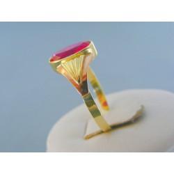 Zlatý dámsky prsteň žlté červené zlato červený kameň DP62341V 14 karátov 585/1000 3.41g