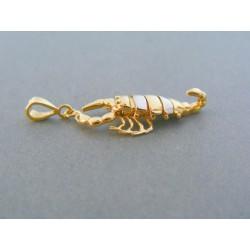 Zlatý prívesok znamenie rak žlté biele zlato VI275V 14 karátov 585/1000 2.75g