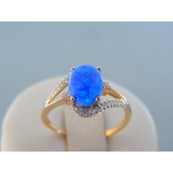Zlatý dámsky prsteň s modrým opálom červené zlato DP56194C 14 karátov 585/1000 1.94g