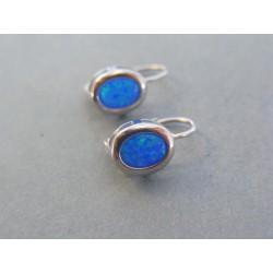 Strieborné dámske náušnice kameň modrý opál DAS192 925/1000 1.92g