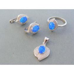 Strieborná dámska súprava náušnice prívesok prsteň kameň opál DSS51983 925/1000 9.83g