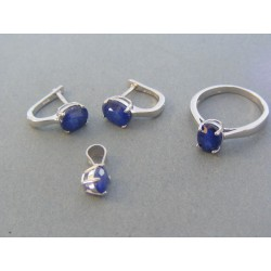 Strieborná dámska súprava náušnice prívesok prsteň modrý kameň DSS54647 925/1000 6.47g