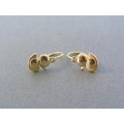 Zlaté detské náušnice kačička žlté zlato kamienok DA109Z 14 karátov 585/1000 1.09g