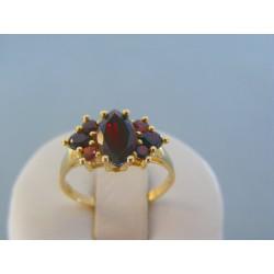Zlatý dámsky prsteň žlté zlato český granát VP57307Z 14 karátov 585/1000 3.07g