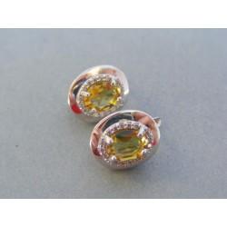 Zlaté dámske náušnice biele zlato farebný kameň VA413B 14 karátov 585/1000 4.13g