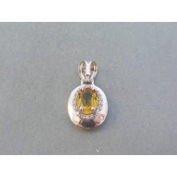 Zlatý dámsky prívesok biele zlato farebný kameň VI189B 14 karátov 585/1000 1.89g