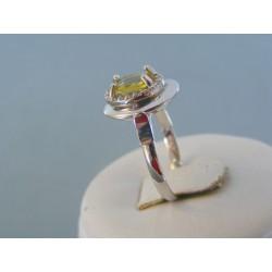 Zlatý dámsky prsteň biele zlato farebný kameň VP56287B 14 karátov 585/1000 2.87g