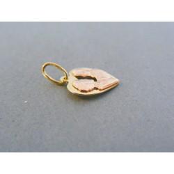 Zlatý prívesok srdiečko znamenie blíženci žlté červené zlato DI071V 14 karátov 585/1000 0.71g