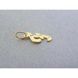 Zlatý prívesok písmeno F žlté zlato vzorovaný DI041Z 14 karátov 585/1000 0.41g