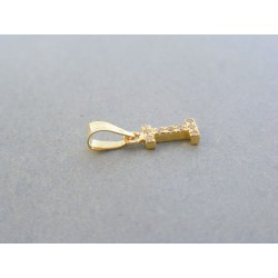 Zlatý prívesok písmeno I kamienky žlté zlato DI057Z 14 karátov 585/1000 0.57g