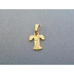 Zlatý prívesok v tvare písmena T jemný vzor DI035Z 14 karátov 585/1000 0.35g