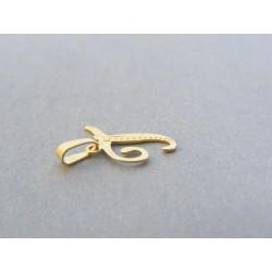 Zlatý prívesok písmeno T jemný vzor DI033Z 14 karátov 585/1000 0.33g