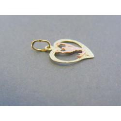 Zlatý prívesok srdiečko znamenie škorpiónu žlté červené zlato DI064V 14 karátov 585/1000 0.64g