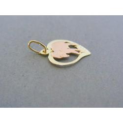 Zlatý prívesok srdiečko znamenie barán žlté červené zlato  DI079V 14 karátov 585/1000 0.79g