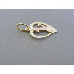 Zlatý prívesok srdiečko znamenie panna žlté červené zlato DI067V 14 karátov 585/1000 0.67g