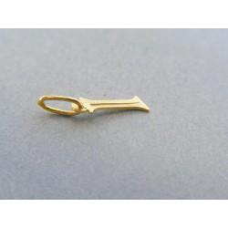 Zlatý prívesok písmeno I jemný vzor žlté zlato DI032Z 14 karátov 585/1000 0.32g