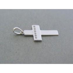 Zlatý prívesok krížik biele zlato kamienky VIK093B 14 karátov 585/1000 0.93g