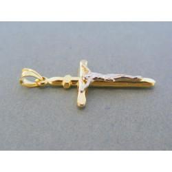Zlatý prívesok krížik žlté biele zlato umučenie VIK153V 14 karátov 585/1000 1.53g