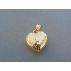 Zlatý prívesok srdiečko žlté zlato vzorované DI113Z 14 karátov 585/1000 1.13g