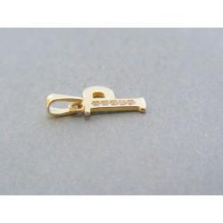 Zlatý prívesok písmeno P kamienky žlté zlato DI061Z 14 karátov 585/1000 0.61g