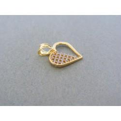 Zlatý prívesok srdiečko žlté zlato kamienky DI063Z 14 karátov 585/1000 0.63g