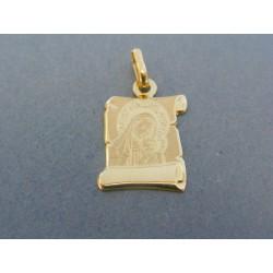Zlatý prívesok platnička sv. obrázok žlté zlato DI086Z 14 karátov 585/1000 0.86g