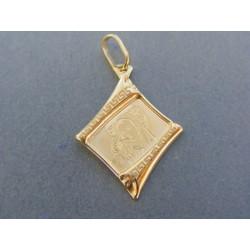 Zlatý prívesok platnička sv. obrázok žlté zlato DI089Z 14 karátov 585/1000 0.89g
