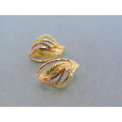 Zlaté dámske náušnice vzorované žlté červené zlato DA220V 14 karátov 585/1000 2.20g