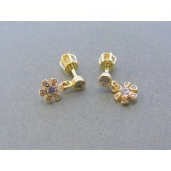Zlaté dámske visiace náušnice žlté zlato zirkóny šrubovačky DA150Z 14 karátov 585/1000 1.50g
