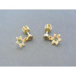 Zlaté dámske visiace náušnice kvet zirkón šrubovačky žlté zlato DA146Z 14 karátov 585/1000 1.46g