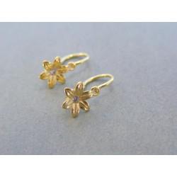 Zlaté detské náušnice kvet žlté zlato kamienok DA098Z 14 karátov 585/1000 0.98g