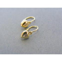 Zlaté detské náušnice srdiečka kamienok žlto zlato DA101Z 14 karátov 585/1000 1.01g