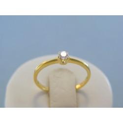 Zlatý dámsky prsteň jemný zirkón žlté zlato DP54111Z 14 karátov 585/1000 1.11g