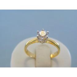 Zlatý dámsky prsteň žlté biele zlato zirkón v korunke DP60301V 14 karátov 585/1000 3.01g