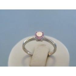 Strieborný dámsky prsteň ružový kamienok DPS56205 925/1000 2.05g