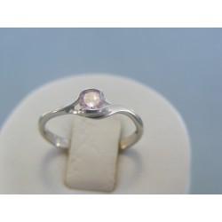 Strieborný dámsky prsteň ružový kameň DPS52141 925/1000 1.41g