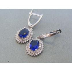 Strieborné dámske visiace náušnice modrý kameň DAS462 925/1000 4.62g