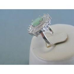 Strieborný dámsky prsteň zelený kameň DPS52476 925/1000 4.76g