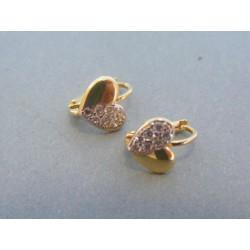 Zlaté dámske náušnice srdiečka žlté zlato zirkóny DA144Z 14 karátov 585/1000 1.44g