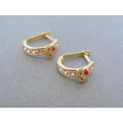 Zlaté dámske náušnice žlté zlato kamienky DA157Z 14 karátov 585/1000 1.57g