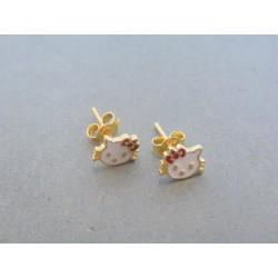 Zlaté dámske náušnice mačičky napichovačky žlté zlato DA099Z 14 karátov 585/1000 0.99g