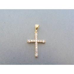Zlatý prívesok krížik žlté zlato kamienky DIK090Z 14 karátov 585/1000 0.90g