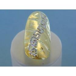 Zlatý dámsky prsteň vzorovaný žlté biele zlato DP55376V 14 karátov 585/1000 3.76g