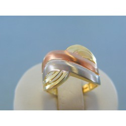 Zlatý dámsky prsteň vzorovaný žlté biele červené zlato DP55391V 14 karátov 585/1000 3.91g