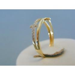 Zlatý dámsky prsteň krížik žlté zlato kamienky DP57175Z 14 karátov 585/1000 1.75g